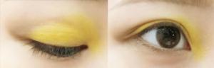 黄色のアイシャドウ