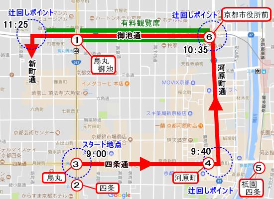 山鉾巡業の最寄り駅(7月17日)